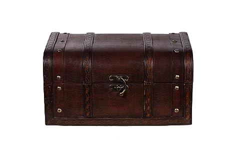 Baúl HD 86002 – Baúl, Cofre baúl, Cofre del Tesoro, madera, caja pirata, pequeño Muebles, acabado antiguo, Maritim, decoración, de gran calidad, Kolo ...