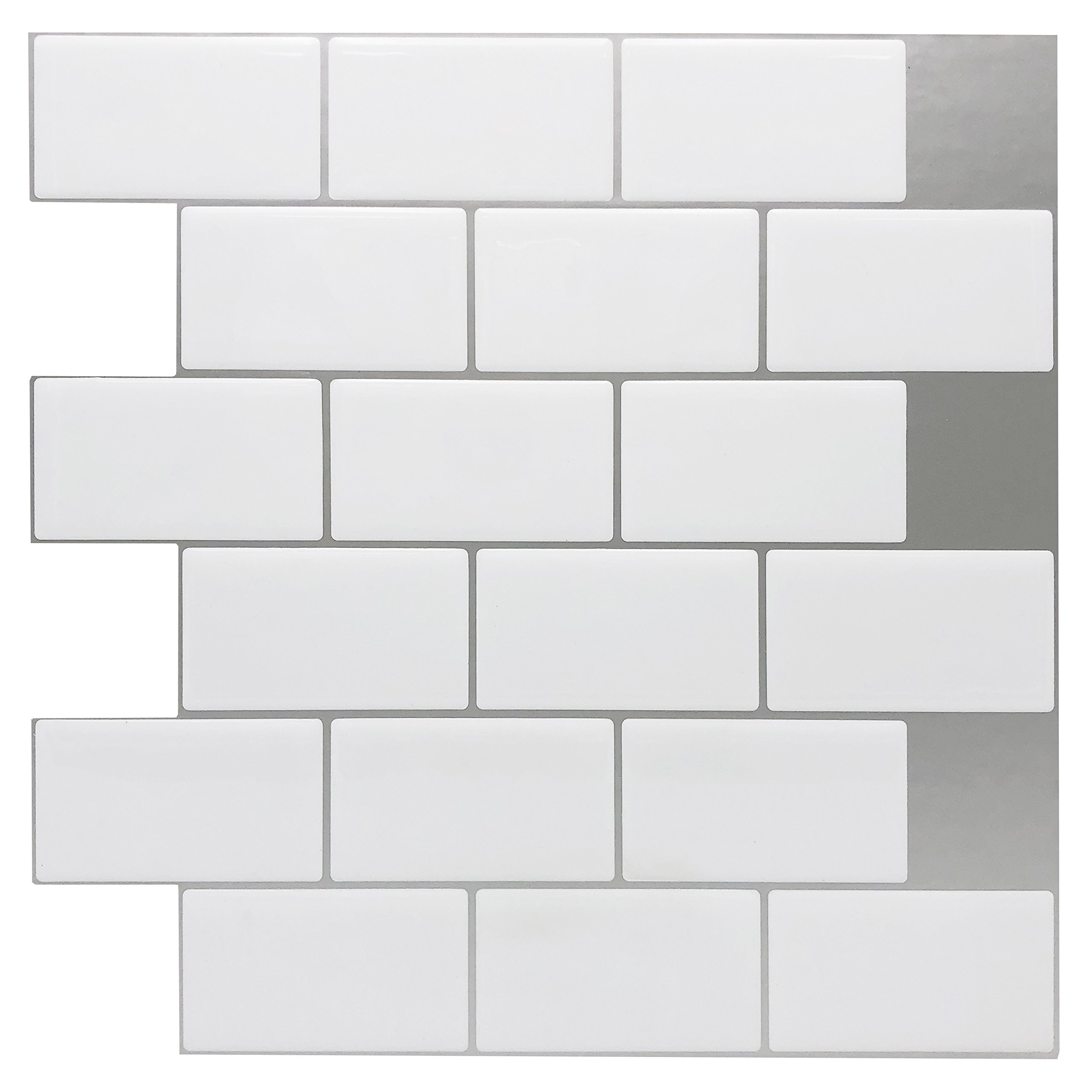 Art3d 12''x12'' Peel and Stick Backsplash Tile Sticker for Kitchen, White, (10 Sheets)