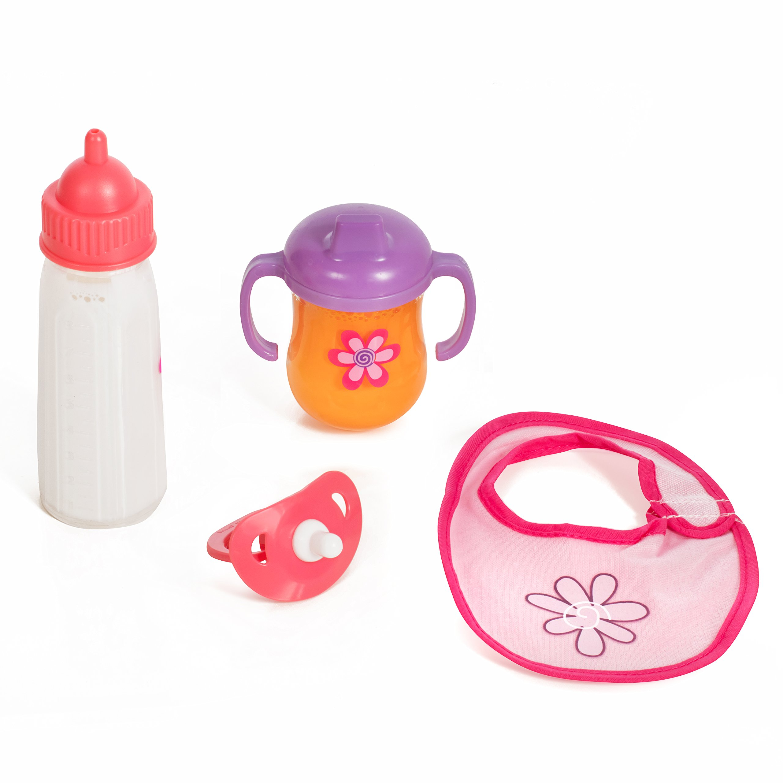 Mommy & Me Baby Doll 4 Piece Feeding Set - Includes A Magic Disappearing Milk Bottle and Sippy Cup