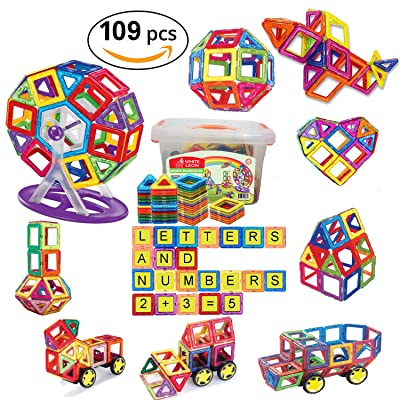 109 Pcs Magnetic Building Blocks set for girls boys Childrens Educational Toys Preschool Learning Game Letters and Numbers Magnetic Tiles Play Construction with Building Magnet for Kids by White Leon