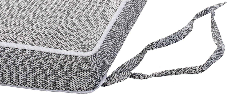 Brandsseller Effetto Lino Strutturato antimacchia e Impermeabile con Nastri di Fissaggio Cuscino da Giardino con Imbottitura 40 x 40 x 4 cm