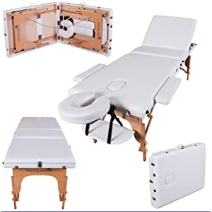 Massage Imperial¨ Deluxe Professional Ivory White 3-Section Portable Massage Table Couch Bed Reiki