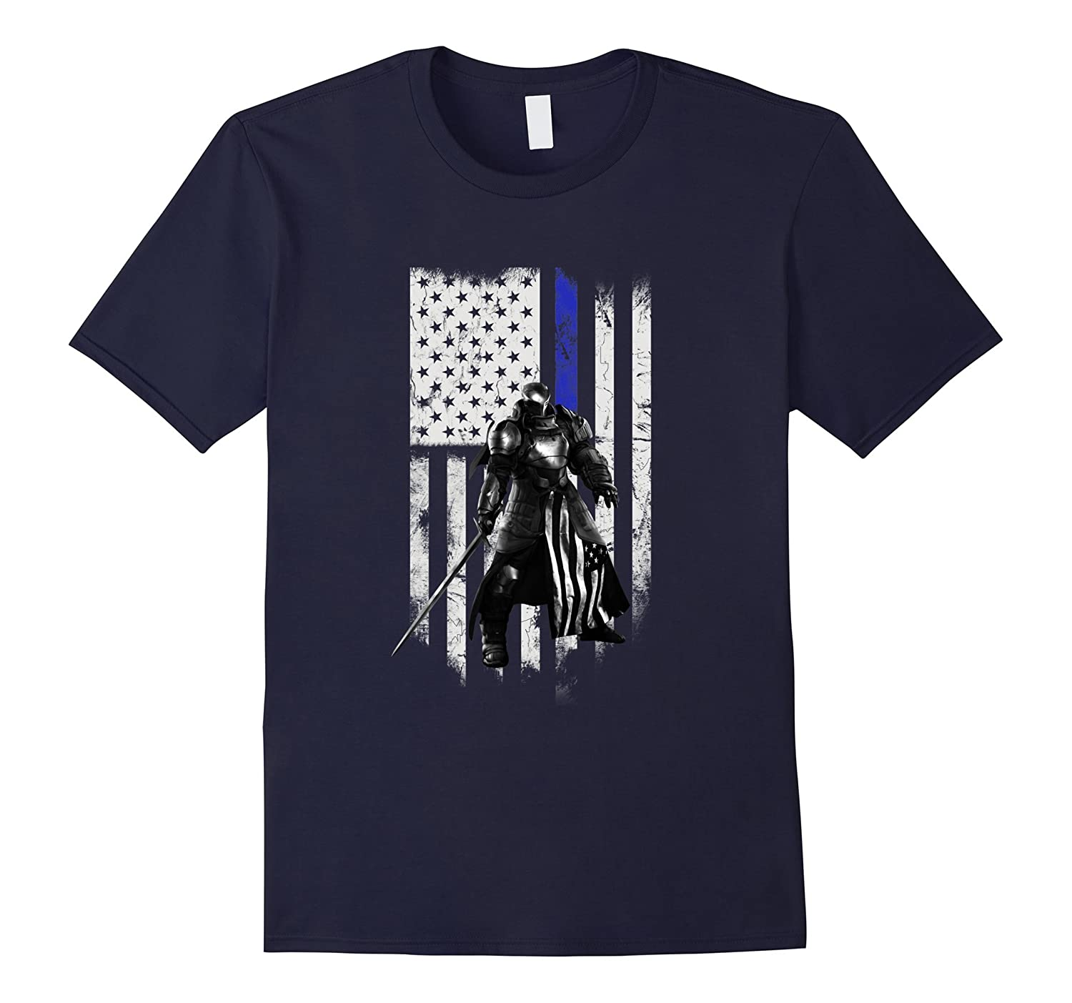 Knights Templar Shirt on Thin Blue Line American Flag-TD