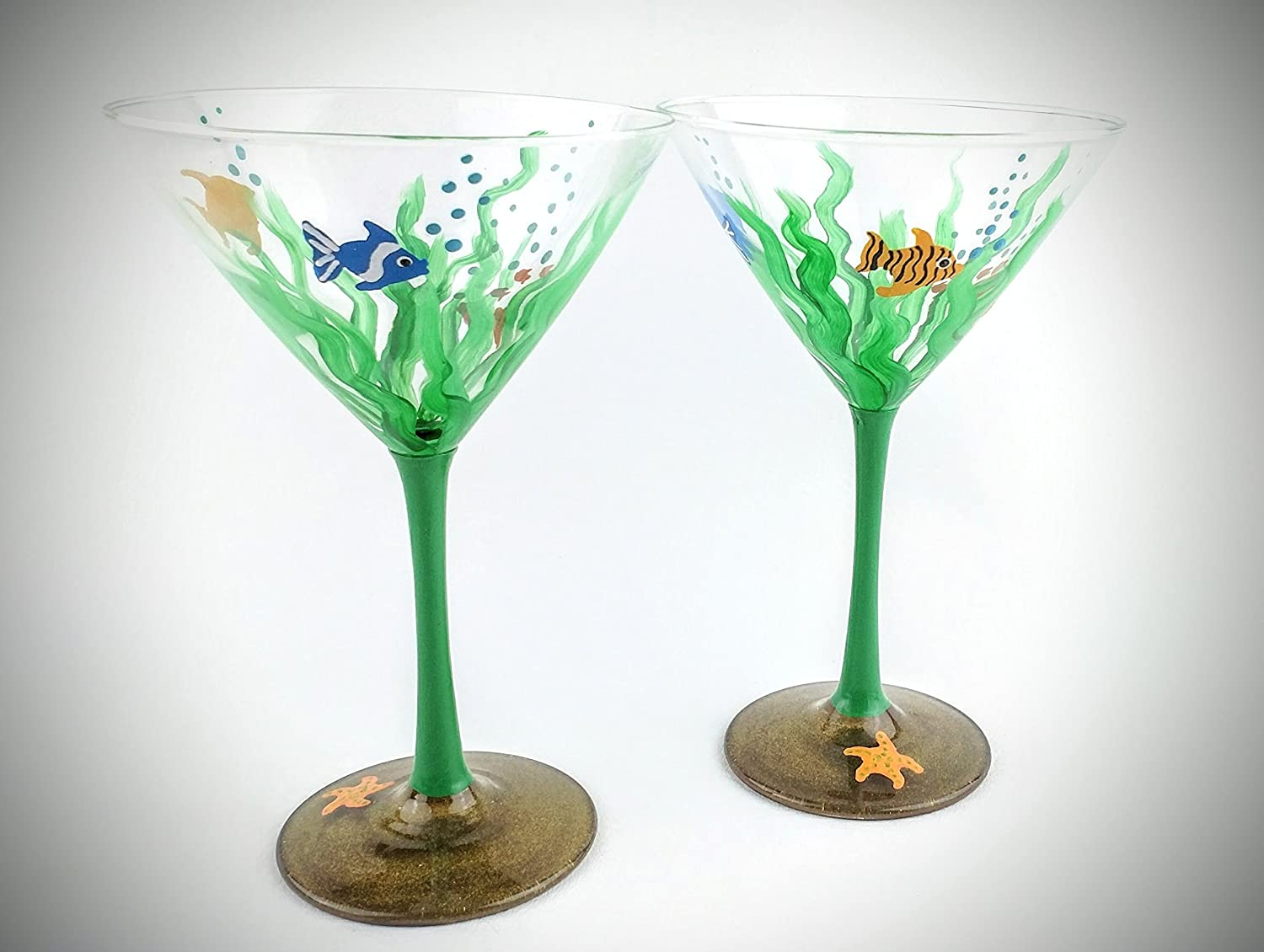 Ocean underwater themed Martini glasses, hand painted with seaweed, fish, sparkling sand - Set of two