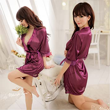LybCvad Ropa Interior Sexy ❤ Batas de baño Sexy camisón Púrpura Brillante lencería de Pijamas: Amazon.es: Deportes y aire libre