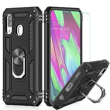 LeYi Funda Samsung Galaxy A40 Armor Carcasa con 360 Anillo iman Soporte Hard PC y Silicona TPU Bumper antigolpes Fundas Carcasas Case para movil ...
