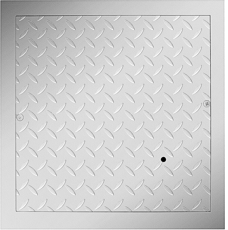 VEVOR Tapa para Arqueta 40 x 40 cm Tapa Pozo de Placa de Acero Galvanizado, Marco de 47 x 47 cm Cubierta Adecua Cisterna Tapa de Cisterna con Altura de 4 cm y Color Plata, para Piso Interior de Barco