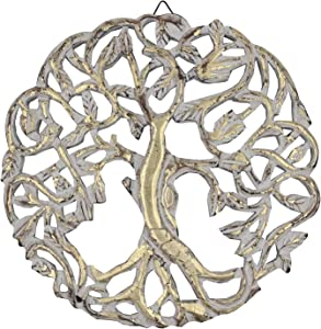 DharmaObjects Handcrafted Wooden Celtic Tree of Life Wall Decor Hanging Art (Gold)
