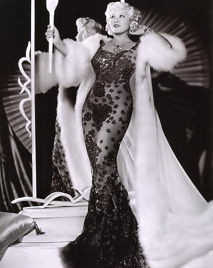 Amazon Mae West Black Dress Fur Coat Glamour Photo Hollywood