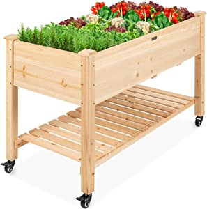 Best Choice Products Raised Garden Bed 48x24x32-inch Mobile Elevated Wood Planter w/Lockable Wheels, Storage Shelf, Protective Liner