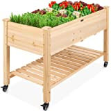Best Choice Products Raised Garden Bed 48x24x32-inch Mobile Elevated Wood Planter w/Lockable Wheels, Storage Shelf, Protectiv