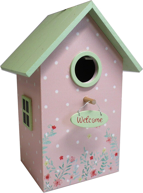 Home Collection Hogar Decoración Accesorios Ornamento Casa para Pájaros Floral Verde
