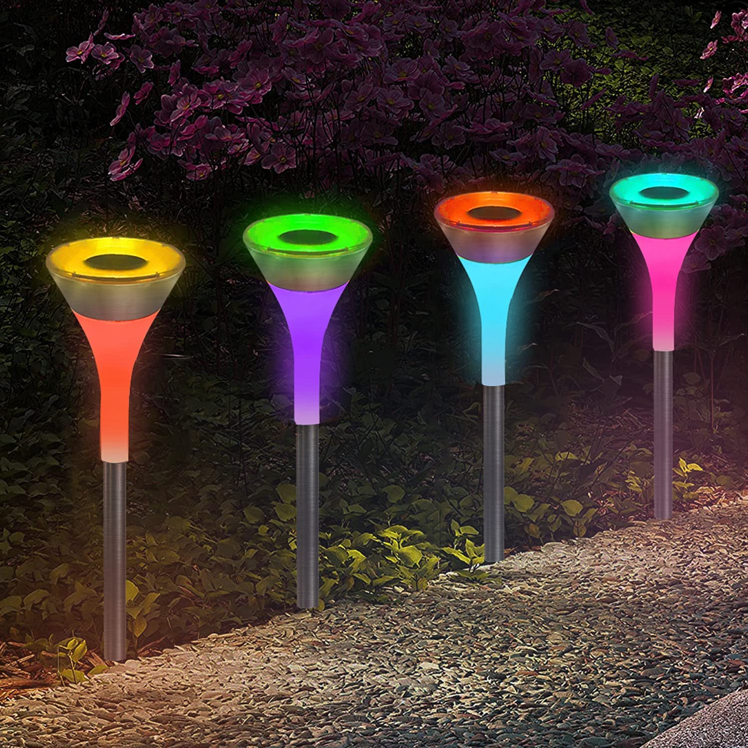 6 Pack Solar Pathway Lights Outdoor - Auto 7 Color Changing/White Solar Powered Lights, Waterproof Decorative LED Path Lights, Landscape Lighting for Garden, Patio, Driveway, Walkway