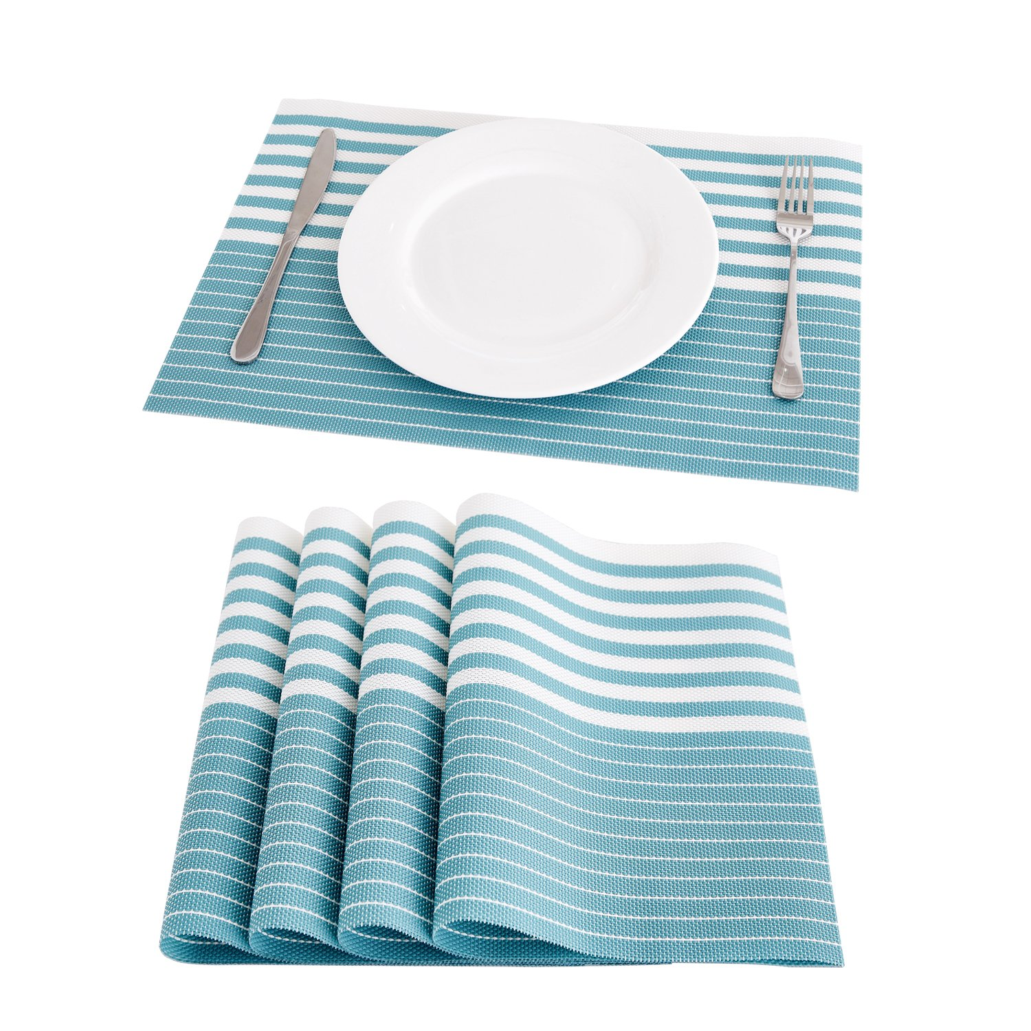 Deconovo Stripe Woven Vinyl Placemats Wipeable PVC Placemat Anti-Slip Washable Table Mats for Table Restaurant 12x18 Inch Teal Blue Set of 4