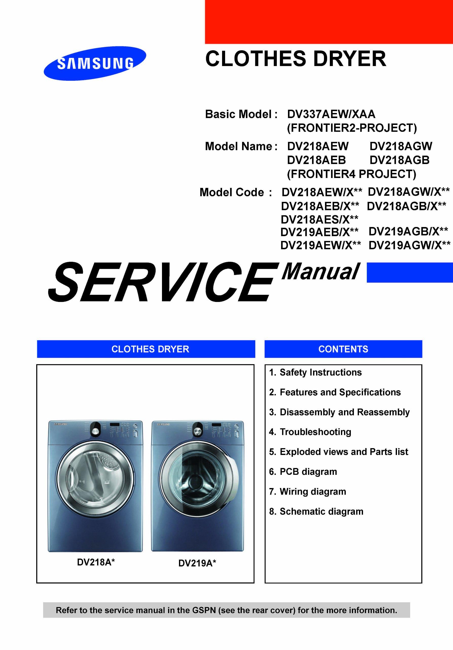 samsung dv219aew xaa service manua dv218aew xaa service manual rh amazon com Guitar Wiring Schematics Wiring Schematic Symbols