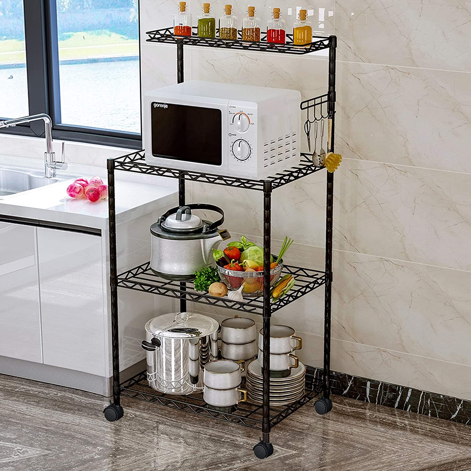 LENTIA 4-Tier Baker s Rack Microwave Stand Kitchen Oven Rack with Wire Mesh Shelves 4-Side Hooks 4 Wheel Casters Adjustable Leg Plug
