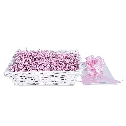 Baby Christening New Born Gift Hamper Wicker Basket Shredded Paper Cello Wrap Pu
