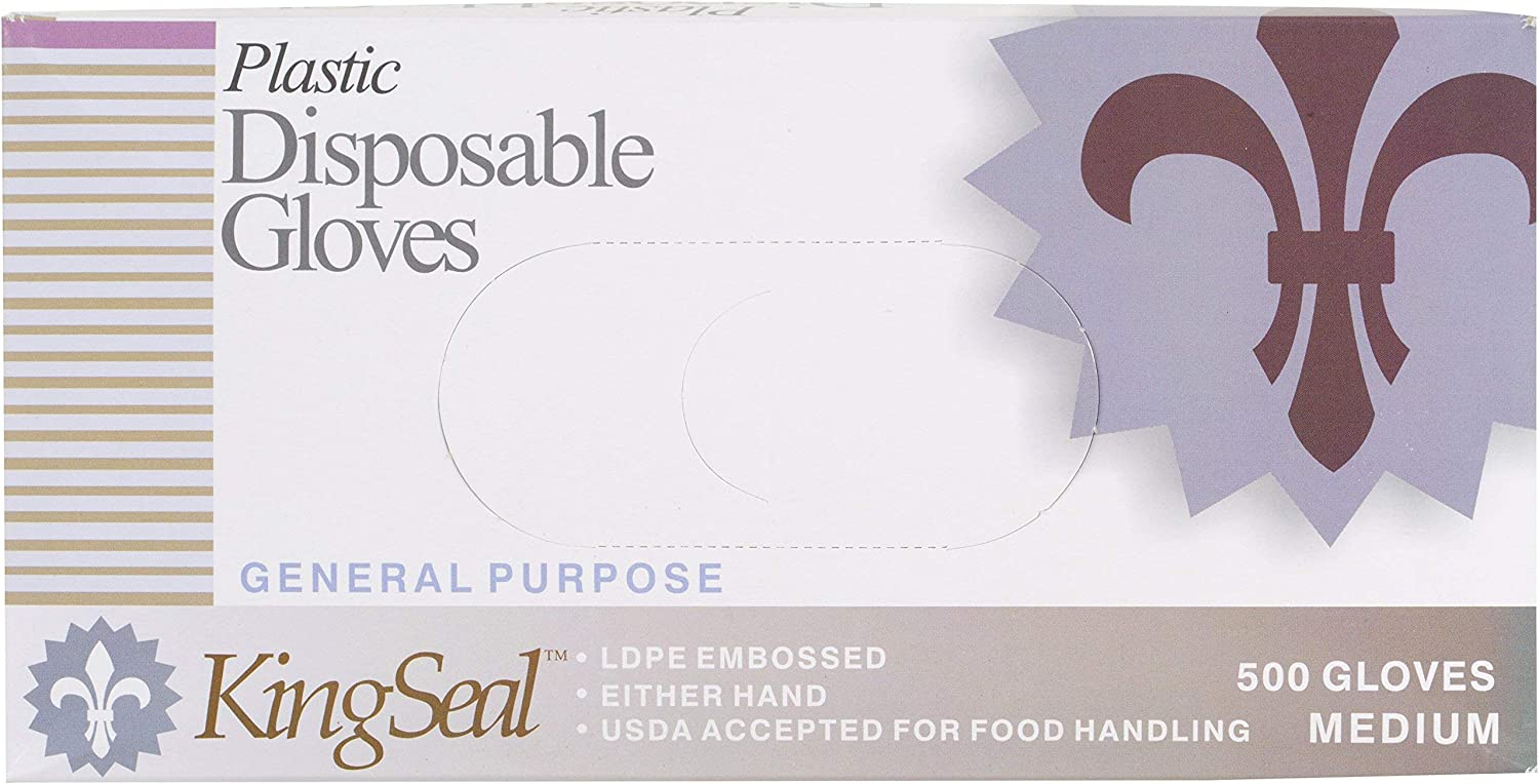 KingSeal Embossed Poly Disposable Foodservice Gloves, Powder-Free, Latex-Free, Size Medium - 4 Boxes of 500 Gloves By Weight (2000 Count)