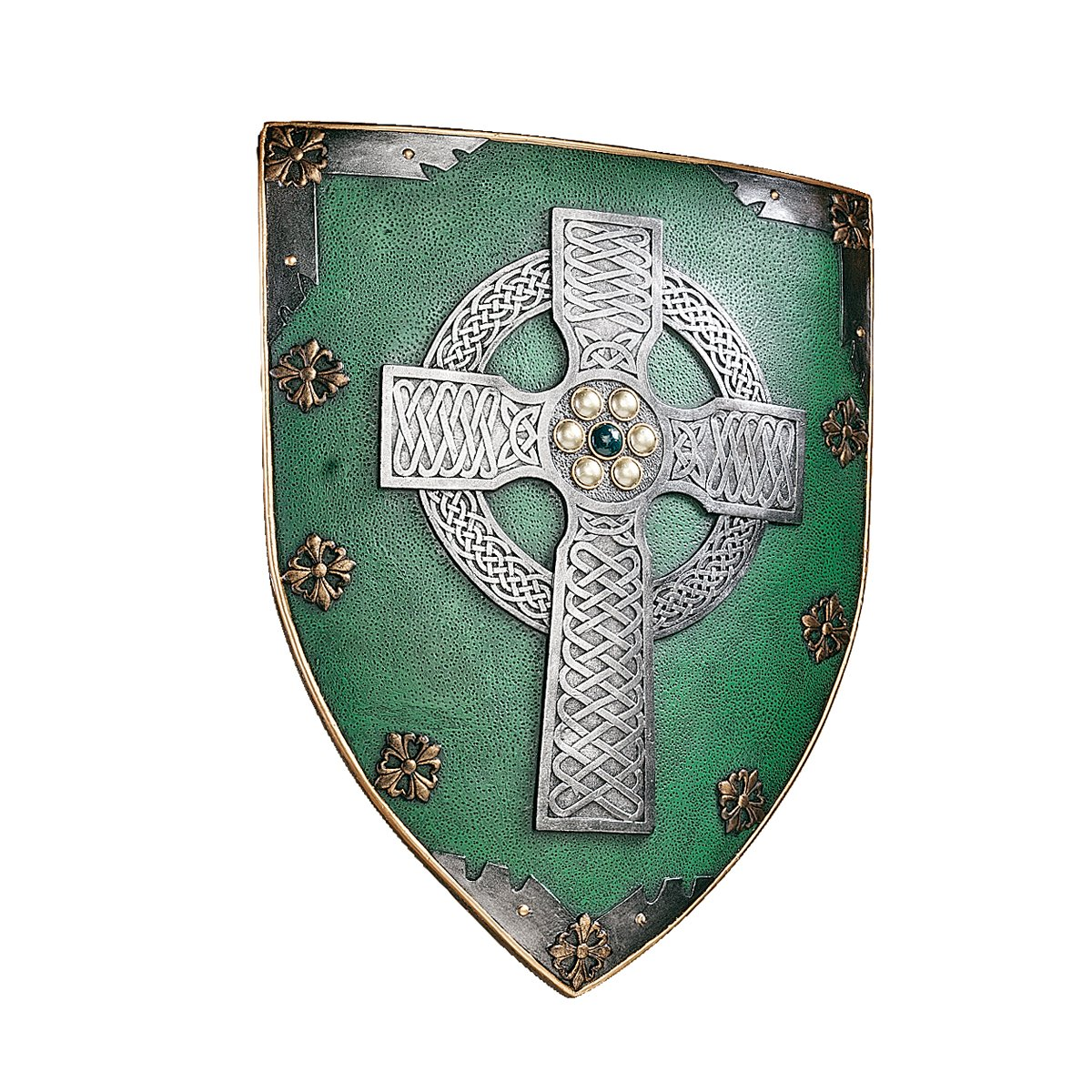 Design Toscano Celtic Cross Warriors Shield Medieval Decor Wall Sculpture, 18 Inch, Polyresin, Full Color