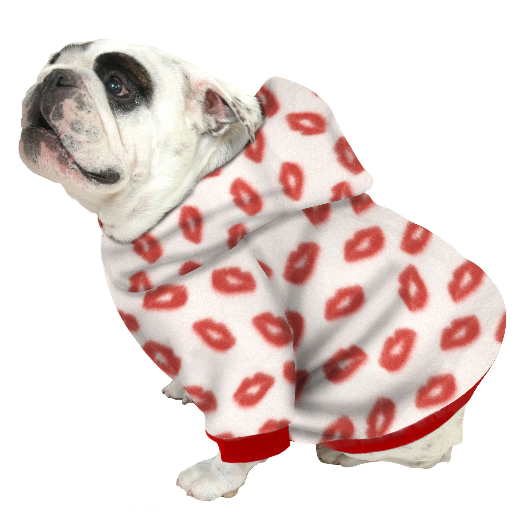 Plus Size Pups English Bulldog Dog Sweatshirts - Sizes Beefy and Bigger Than Beefy with More Than 20 Fleece Patterns to Choose from! (Bigger Than Beefy, Red Lips) by Plus Size Pups (Image #1)