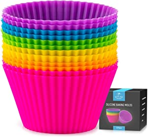 Zulay 12 Pack Silicone Cupcakes Liners - Reusable Non Stick Silicone Cupcake Baking Cups & Silicone Muffin Liners For Baking - Standard Size Silicone Baking Cups For Cupcake, Muffins & More