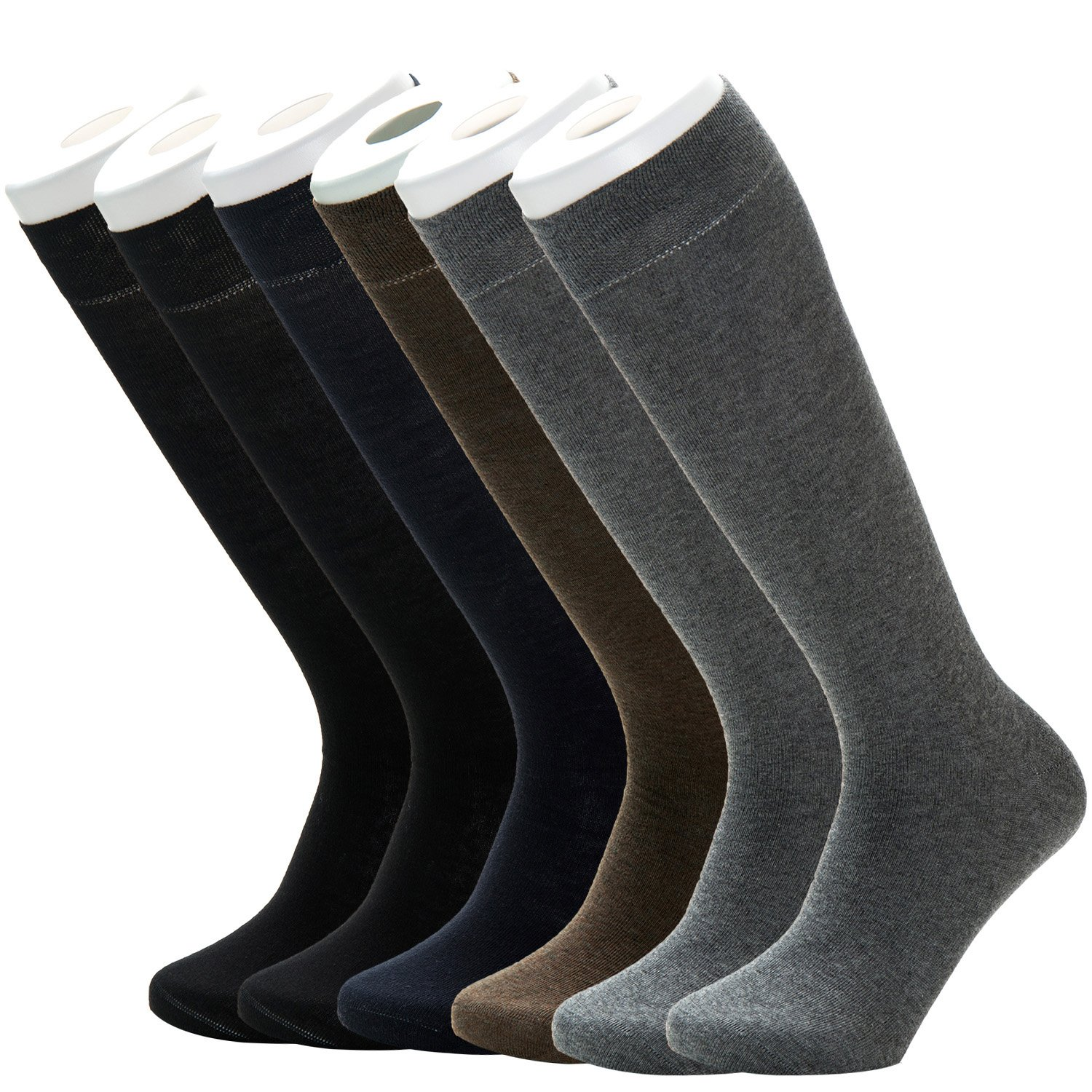 Mens 98% Cotton Rich Soft Knee High Slightly Thin Dress Socks for Business Office Casual Long Sock 6Pack