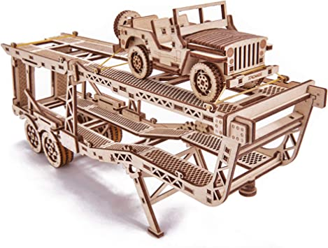 Wood Trick Mechanical Wooden 3D Puzzle Big Rig Truck Trailer with Jeep Construction Set of 2 Models Auto