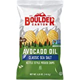 Boulder Canyon Avocado Oil Kettle Cooked Potato Chips, Sea Salt, Wavy Cut, 5.25 oz. Bag, 12 Count – Crunchy Chips Cooked in 1