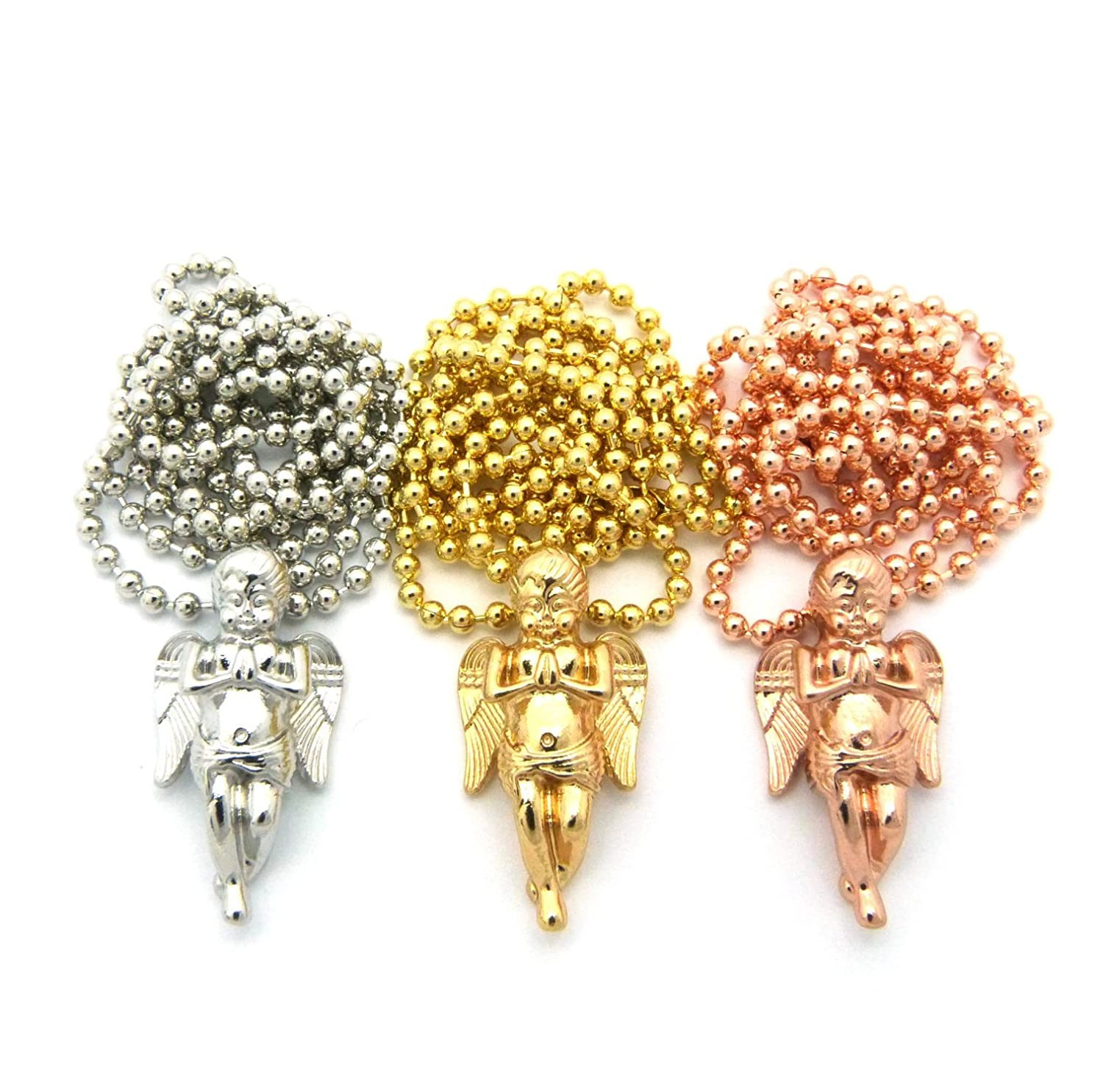 Silver//Gold//Rose Gold-Tone 3 Solid Praying Angel Micro Pendant Set with 24 Ball Chain Necklaces