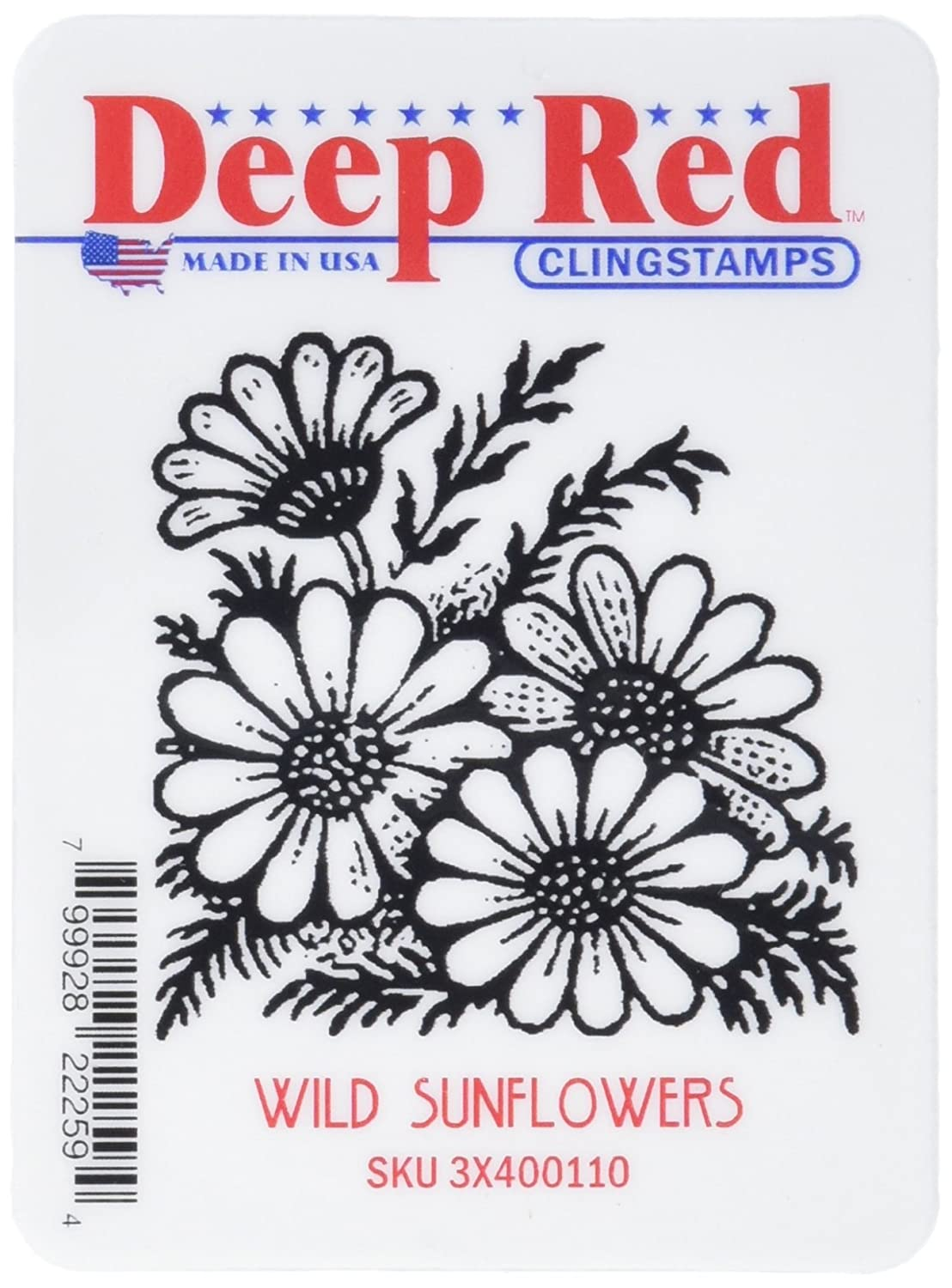 Deep Red Stamps Wild Sunflowers Rubber Stamp