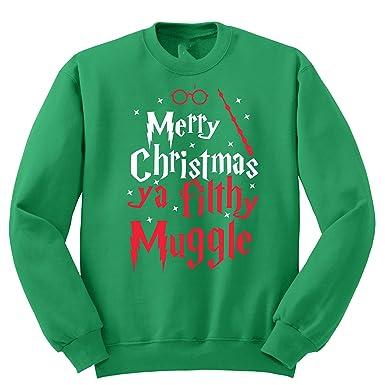 merry christmas ya filthy muggle ugly sweater small green