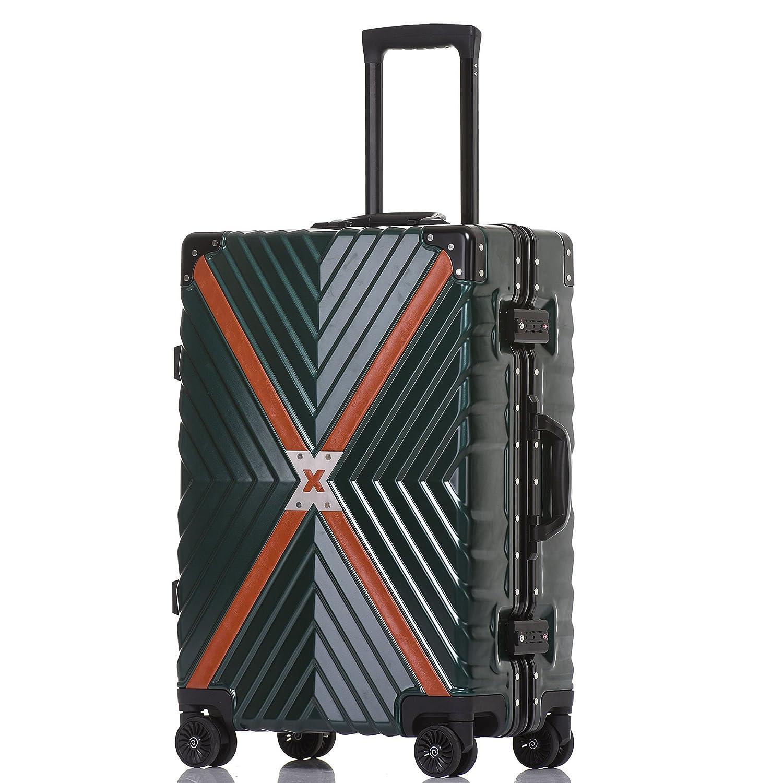 クロース(Kroeus) スーツケース 4輪ダブルキャスター 静音 アルミフレーム 大容量 軽量 人気 キャリーケース 旅行 出張 TSAロック搭載 多段階調節キャリーバー コーナープロテクト B07C2NYJPP L|ダークグリーン ダークグリーン L