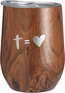 Nui Living Christian Tumbler Wood Pattern Stainless Steel 12 Oz Tumbler for Coffee Tea Wine and Other Hot or Cold Drinks