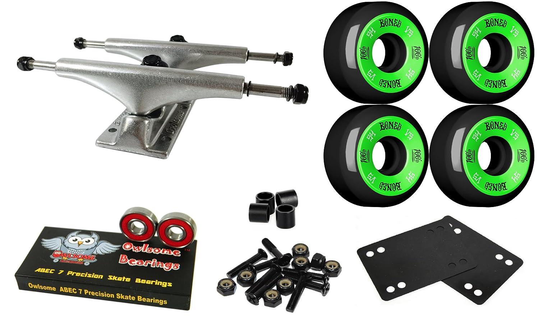 Owlsome 5.0 Polished Aluminum Skateboard Trucksボーン54 mmブラックホイールコンボセット   B07CL91KWS