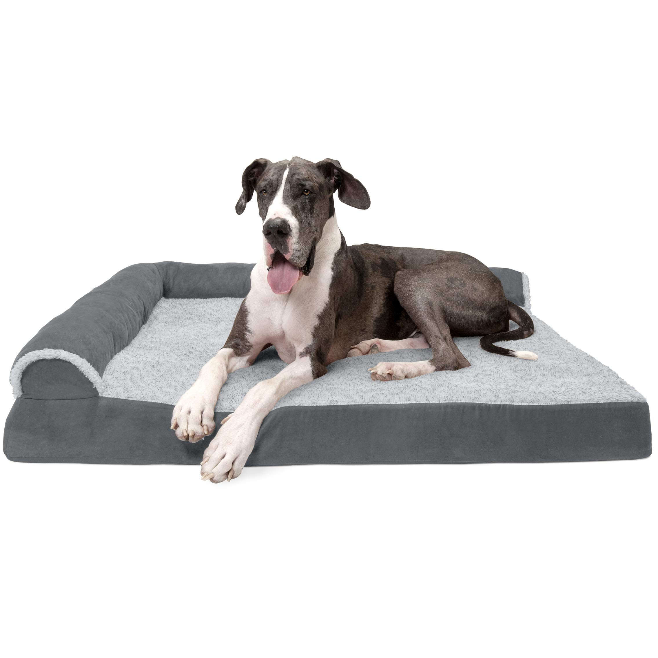 Furhaven Pet Dog Bed   Deluxe Orthopedic Two-Tone Plush Faux Fur & Suede L Shaped Chaise Lounge Living Room Corner Couch Pet Bed w/ Removable Cover for Dogs & Cats, Stone Gray, Jumbo Plus by Furhaven