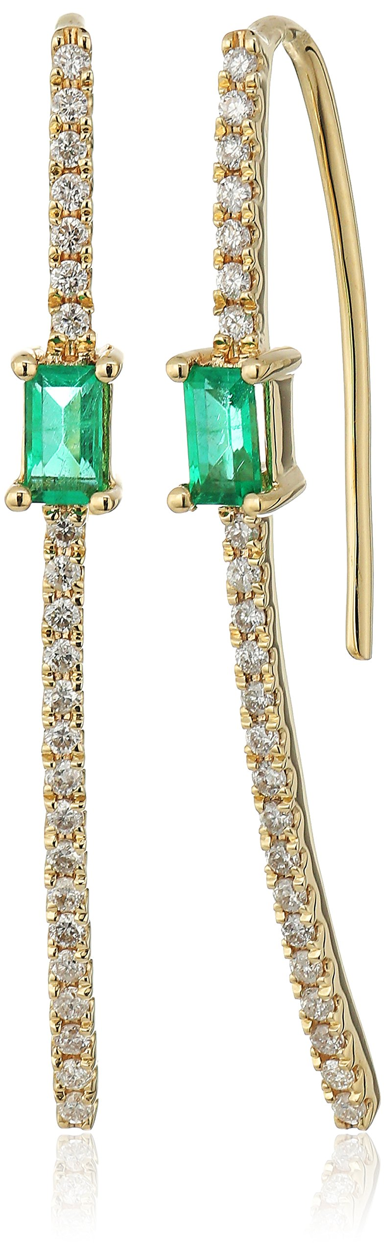 10k Yellow Gold Emerald Cut Emerald with Diamond Accent Drop Earrings (1/10cttw, I-J Color, I2-I3 Clarity)
