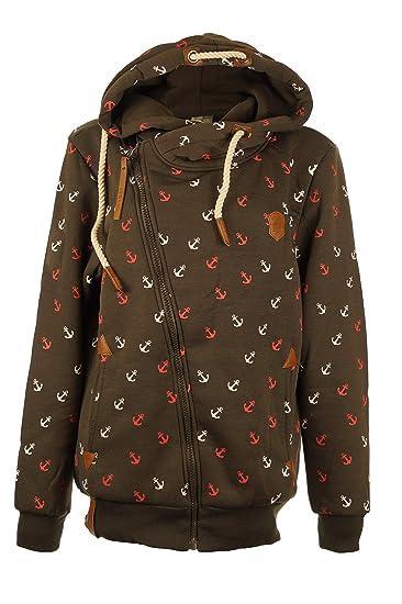 Damen Zipper Sweatjacke Kapuzenpullover Anker Sweater Hoodie Kapuzenjacke S-5XL