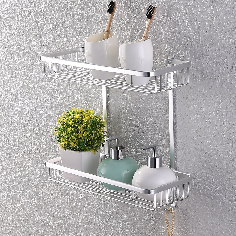 KES A4026 Aluminum Bathroom 2-Tier Shelf Basket Wall Mounted, Silver Sand-Sprayed by Kes