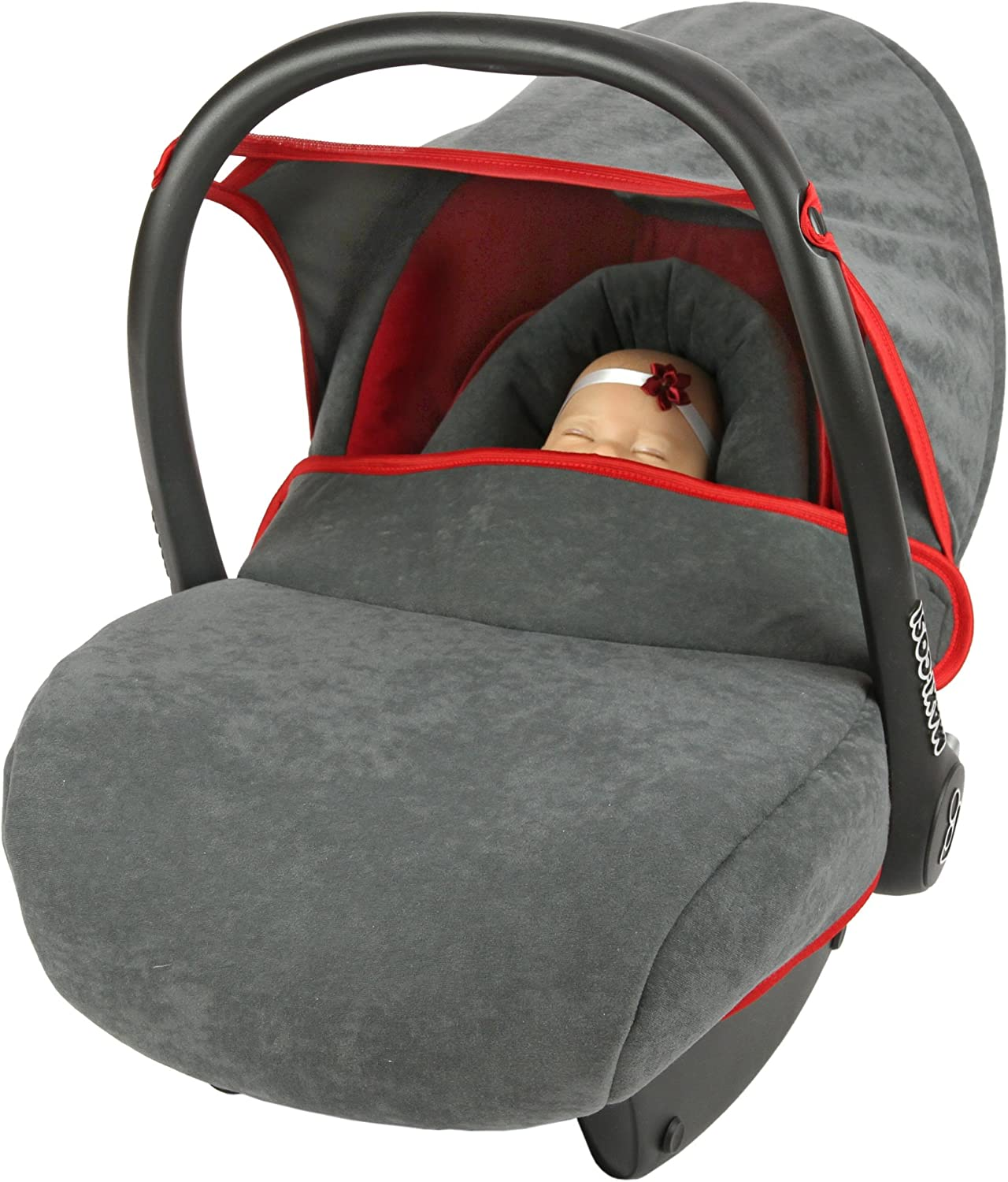 red//grey Replacement Seat Cover fits Maxi-Cosi CabrioFix Group 0+ Infant Carrier 6 piece SET
