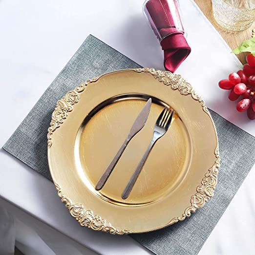 """13/"""" Gold Round Charger Plates Decor Wedding Catering Event Lot Of 8"""