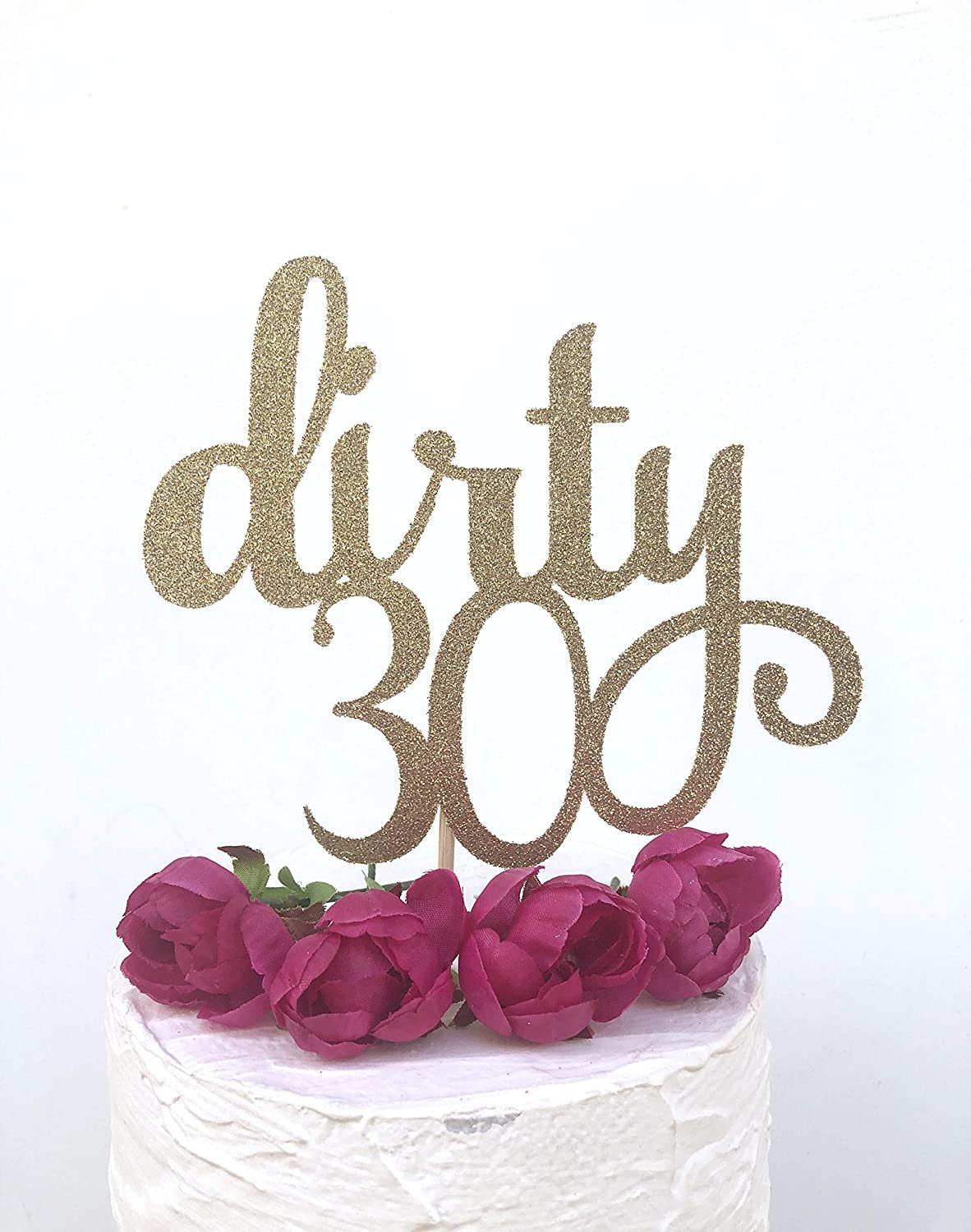 Cool Glitter Dirty 30 Cake Topper Thirty 30 Cake Topper 30Th Birthday Cards Printable Riciscafe Filternl