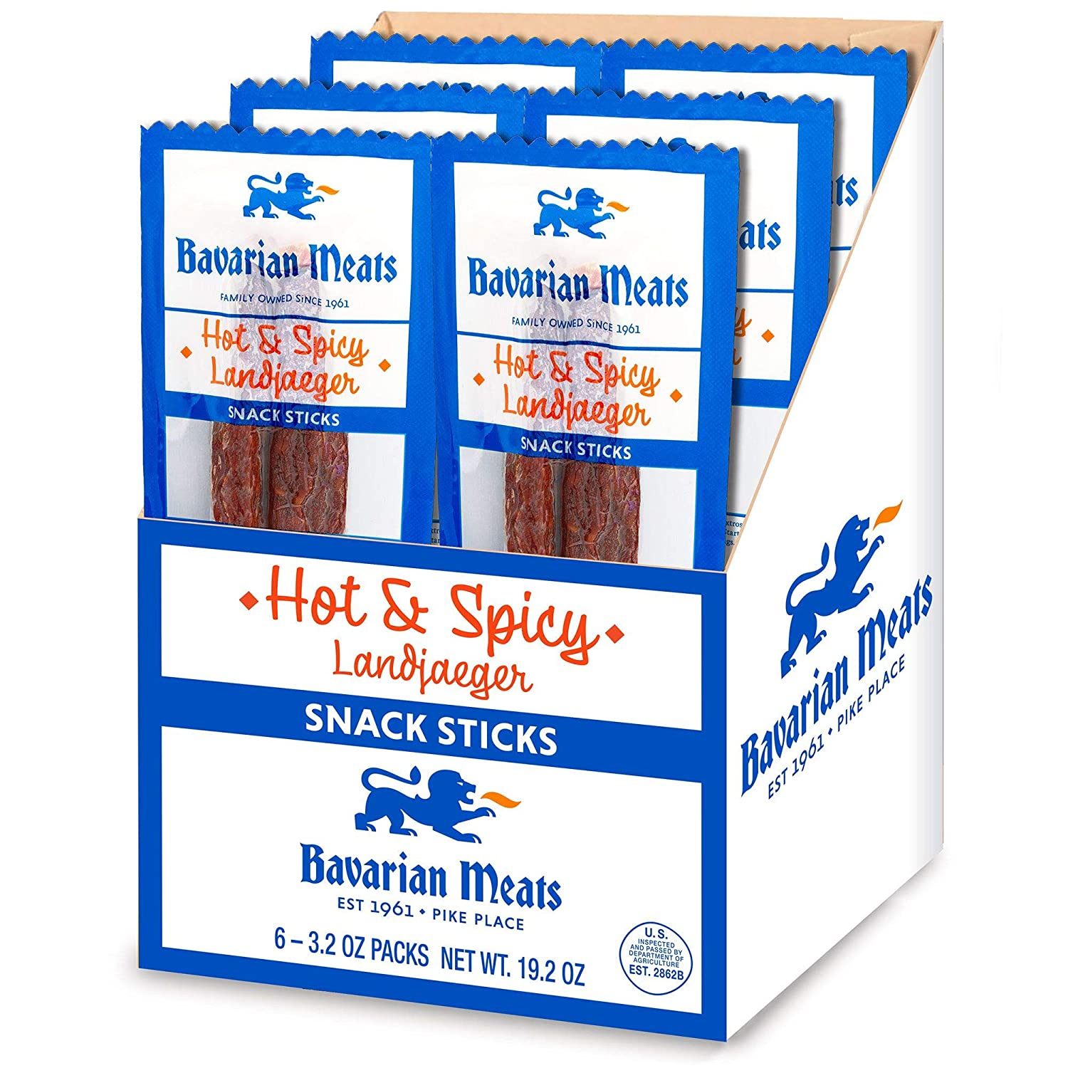 Bavarian Meats Hot & Spicy Landjaeger German Style Smoked Sausage Snack Sticks, 3.2 Ounce (Pack of 6)