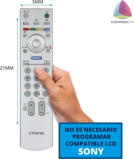Common TV CTVSY02, Mando a Distancia Universal (Compatible con Televisores Sony), Gris: Amazon.es: Electrónica