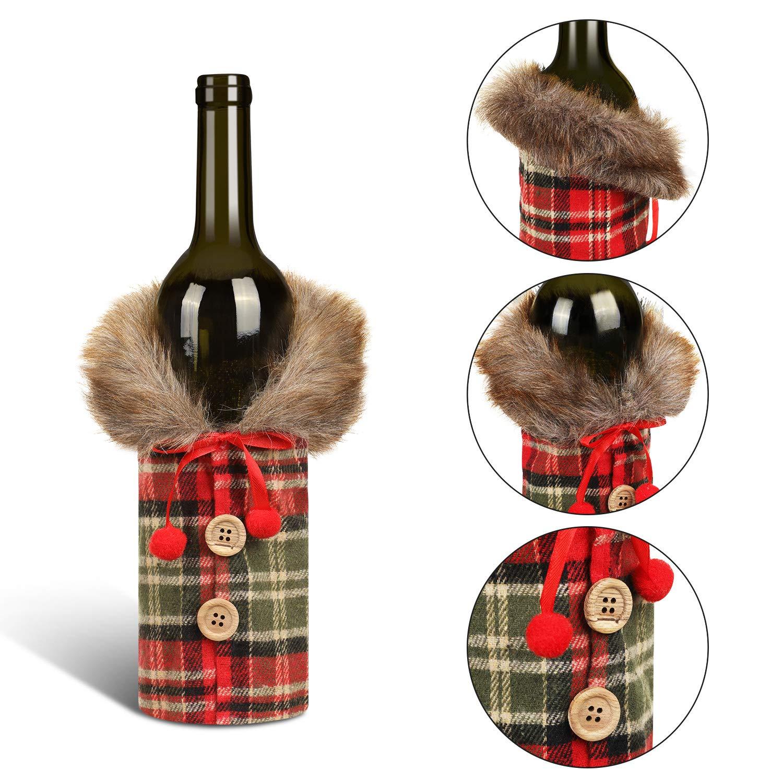 5 Stile 7 St/ück Weihnachten Weinflasche Bezug Flasche Pullover Abdeckung Dekorative Mantel Flasche Abdeckung f/ür Weihnachten Party Dekorationen