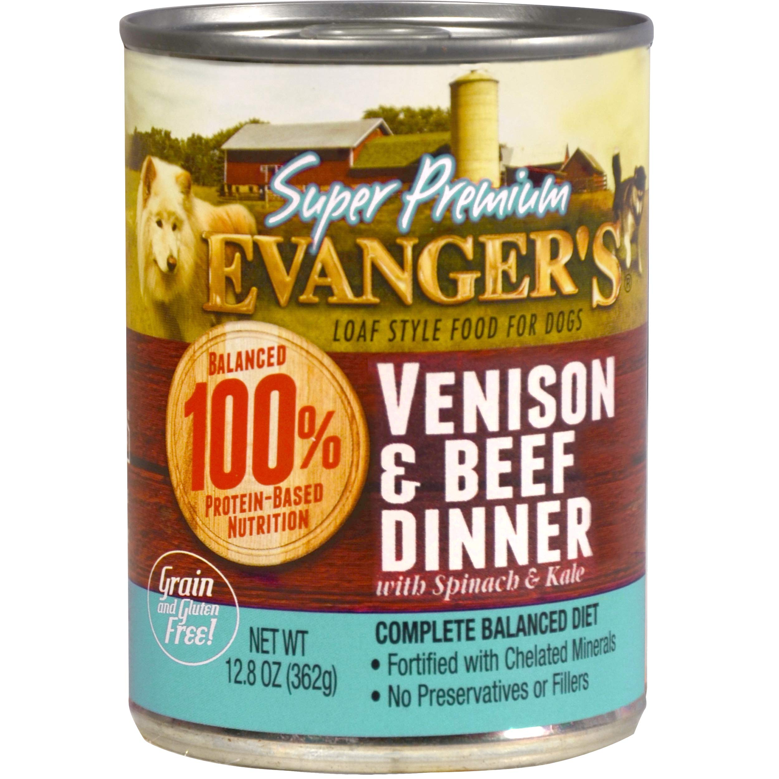 Evanger's Super Premium Venison & Beef Dinner with Spinach and Kale for Dogs, 12 x 12.8 oz cans by Evanger's Dog & Cat Food Company, Inc.