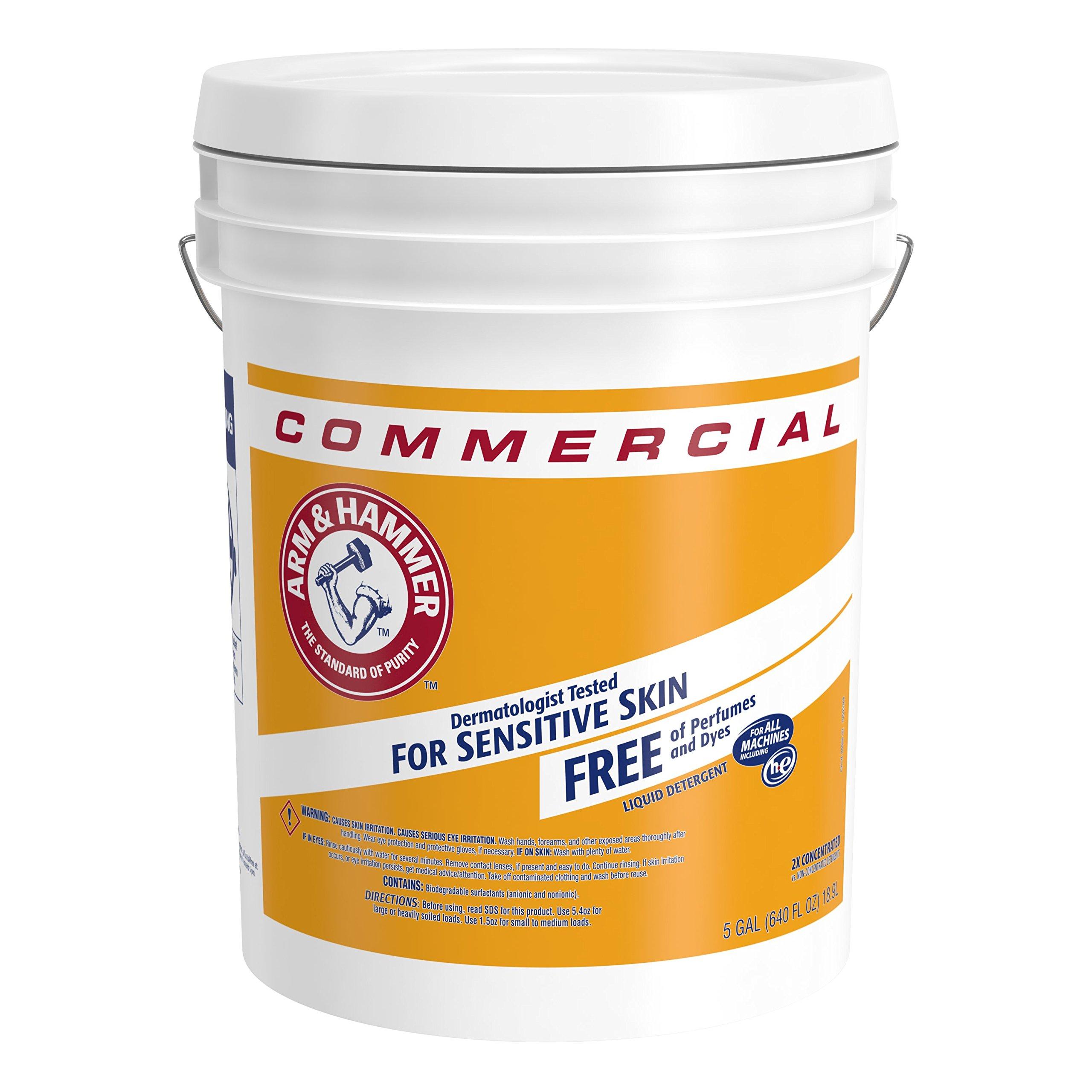 Arm & Hammer 33200-00008 Laundry Detergent Perfume/Dye Free, Liquid, 5 gal, 640 fl. oz.