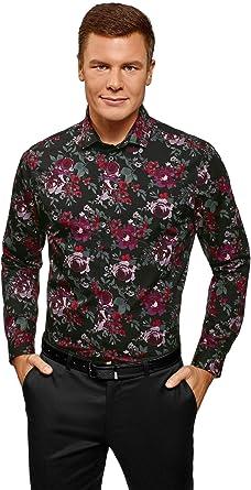 oodji Ultra Hombre Camisa Entallada con Estampado Floral