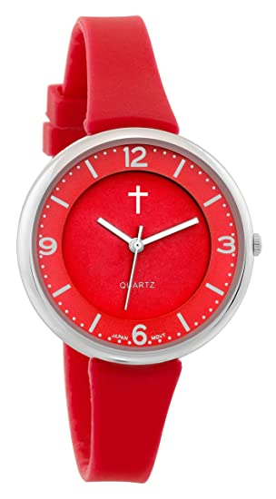 Creencia mujer | Rojo Face Rojo banda de silicona reloj deportivo con logotipo de Cruz |