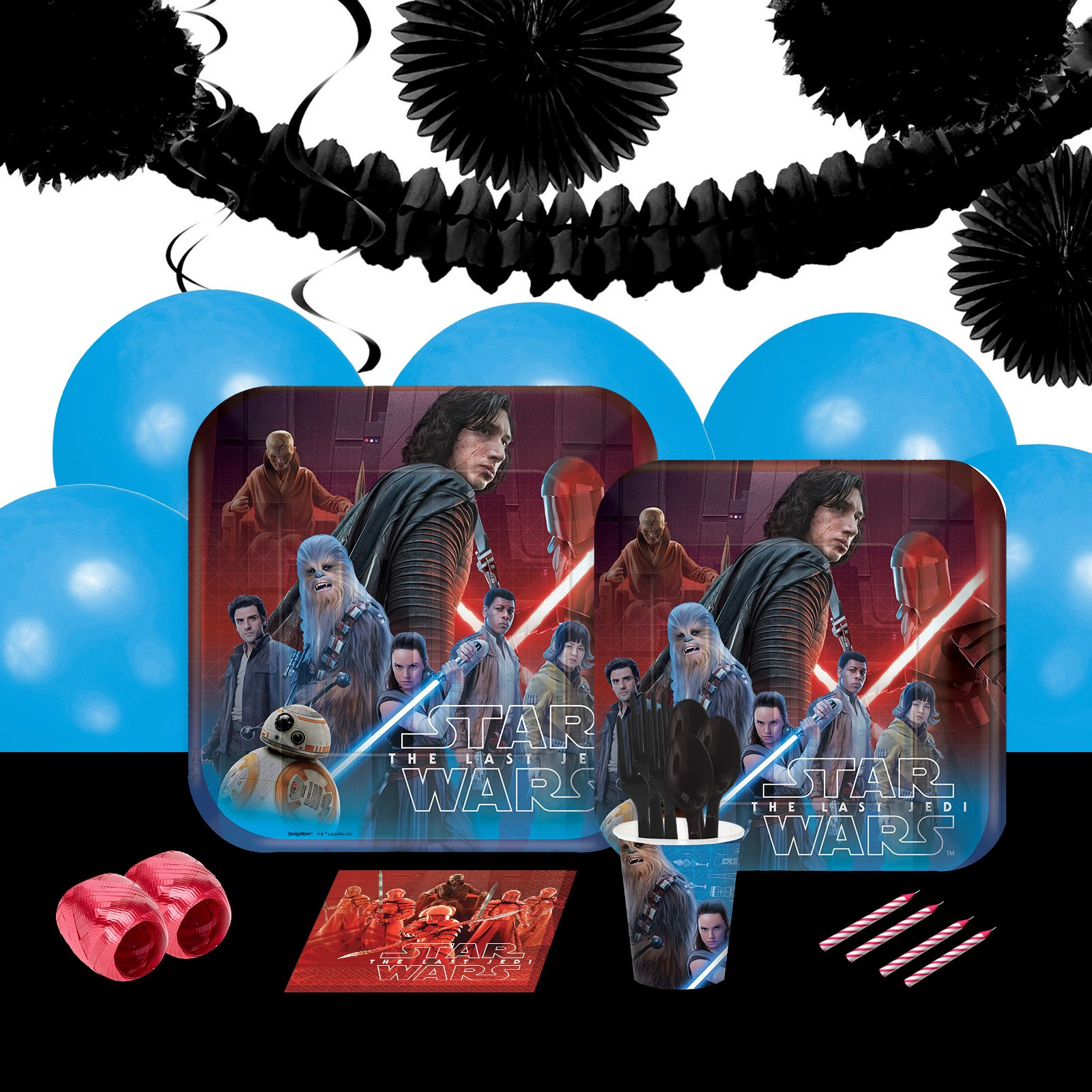 Star Wars Episode VIII 16 Guest Party Pack + Deco Kit