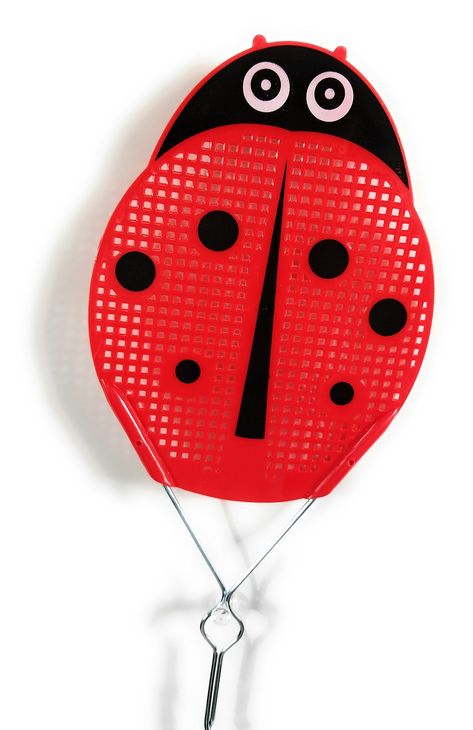 Essentials Fly Swatter Killer and Bug Long Metal Handle ( 19 inch ) Hand Swatters for Flies Metal Handle Fly Swatter (Red ladybug)